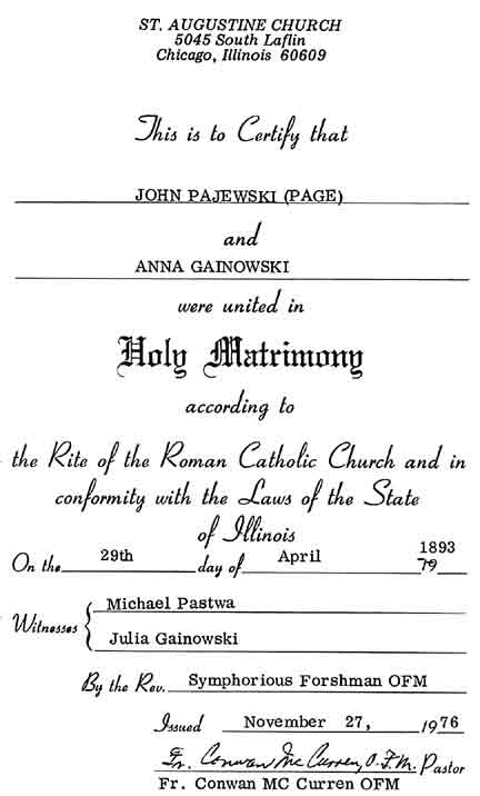 Anna Gainowski Genealogy Source Records